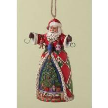 Kerstman met hangende ornamenten