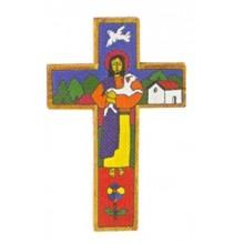 Houten kruisje met afbeelding Goede Herder