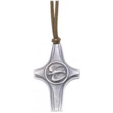 Hanger vredesduif 7 cm oud zilver aan lederen koordje