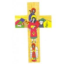 Houten kruisje met afbeelding Heilige Familie